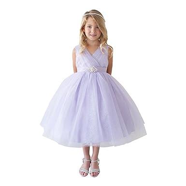9743fa28 Little Girls Lilac Glitter Tulle V-Neck Rhinestone Brooch Flower Girl Dress  2