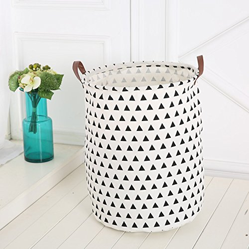 Large Storage Bin, ISUDA Heavy Duty Cotton/Canvas Storage Basket for Nursery or Kids' Room- Toy Box/ Toy Storage/ Toy Organizer for Boys and Girls - Laundry Basket/ Nursery Hamper (Triangle)