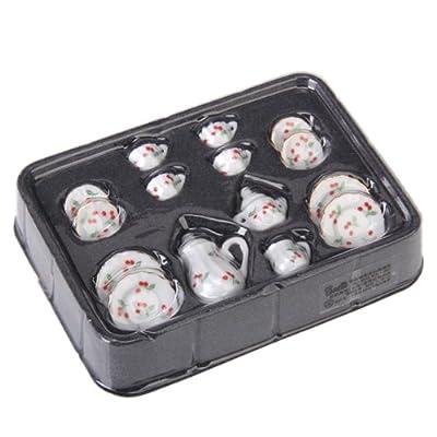 15pcs Ustensiles de Thé Miniatures en Porcelaine pour Maison de Poupées - Rouge Cerise