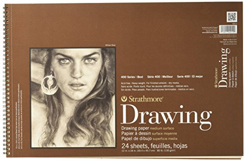Strathmore 400 Series Drawing Pad, Medium Surface Wire Bound, 12x18, 24 (Series Sketch Pads)