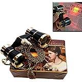 HQRP 3 x 25 Opernglas / Theaterglas Schwarz mit goldenem Zierleisten mit Halskette von mit roter Leselampe mit Neue Technologie Kristallklar Optik (KKO)