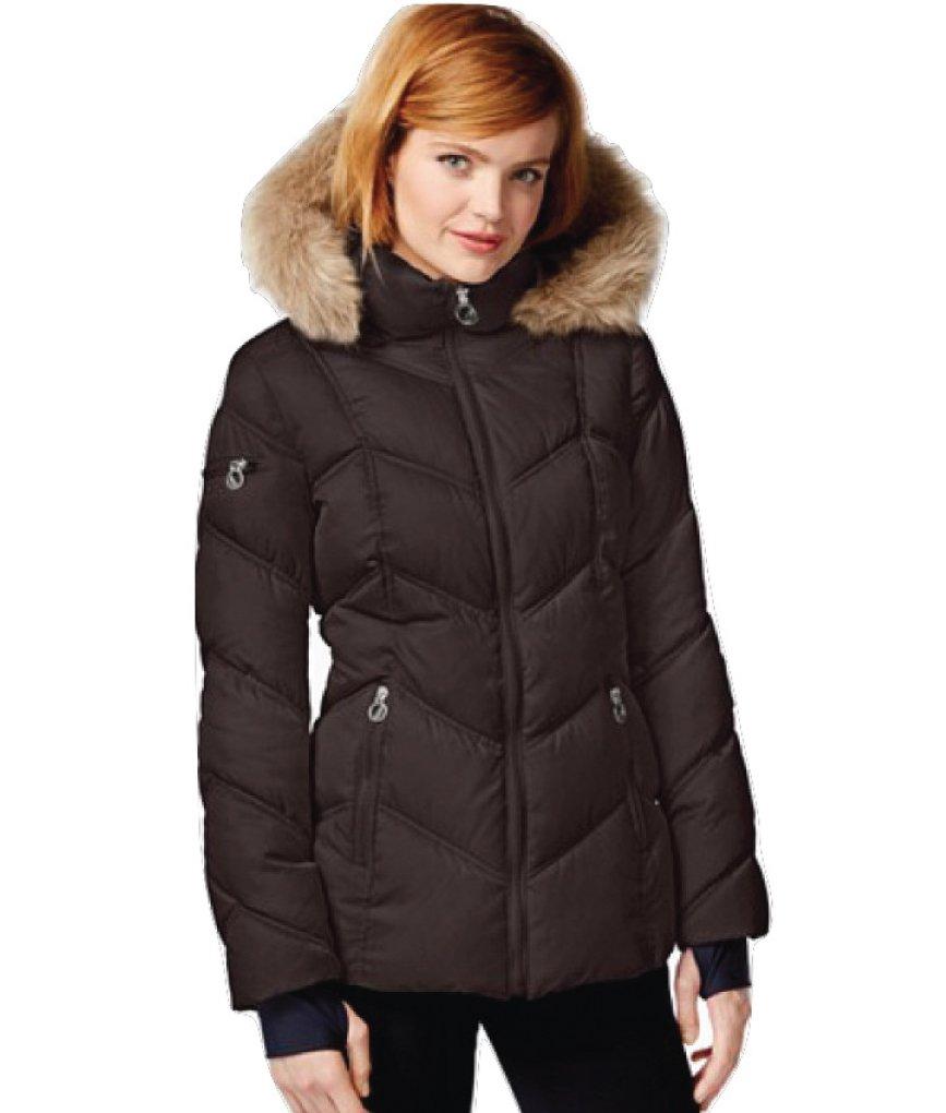 Nautica Faux-Fur-Trim Hooded Puffer Coat (XX-Large, Chocolate)