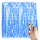 WONFAST 300 LEDs Curtain Lights, 3m3m USB Copper Wire Lights,Remote Control Fairy Starry String Lights with 8 Modes for Wedding Party Home Garden Bedroom Outdoor Indoor Wall Decorations (Blue)