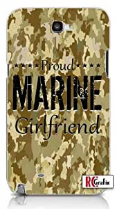 Digital Camouflage Proud Marine Girlfriend Camo Tan Unique Quality Hard Snap On Case for Samsung Galaxy Note 2 Note II N7100 (WHITE)