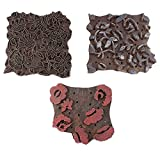IndianShelf Set of 3 Piece Brown Wooden Paper Textile Printing Stamp Canvas Fabric Block
