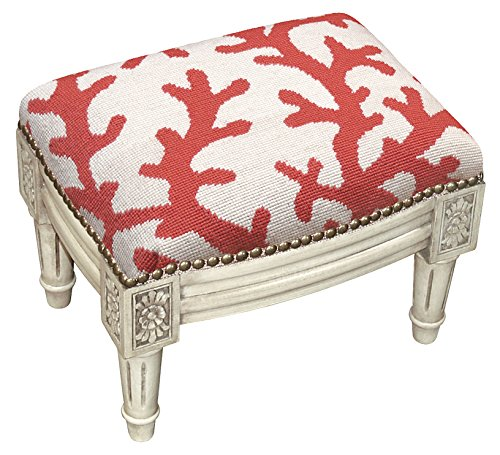 (Kensington Row Home Collection - Footstools - Coral Gables Needlepoint Upholstered Footstool - Coral Design Foot Stool)