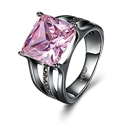 Gnzoe Jewelry Black Mental Plated Ring Women Square Cubic Zirconia Pink Size 7