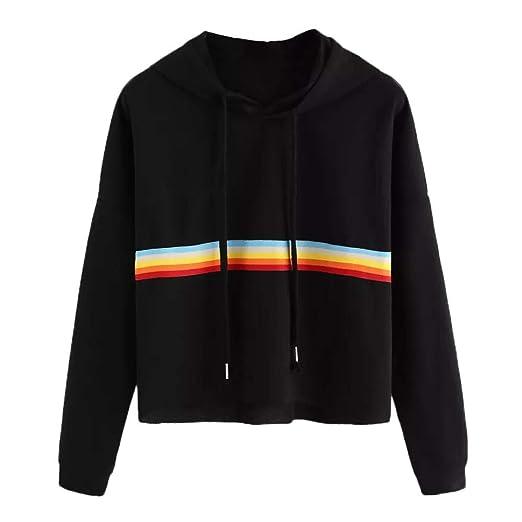 Inkach Women Long Sleeve Hooded Sweatshirt, Rainbow Patchwork Hoodies Pullover Blouse Tops (S,