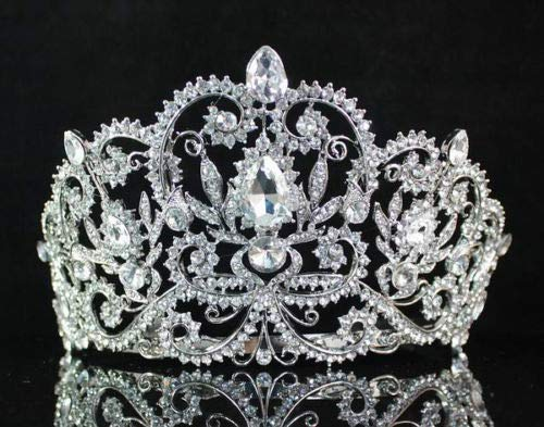 Janefashions Victorian Clear White Austrian Rhinestone Crystal Tiara Crown With Hair Combs Princess Queen Headband Headpiece Jewelry Beauty Contest Birthday Bridal Prom Pageant Silver T1505 - Crystal Austrian Huge