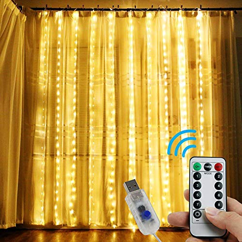 - InaRock String Lights 300 LED Window Curtain Lights with 8 Modes USB Powered Fairy Lights for Birthday Wedding Christmas Party Home Bedroom Garden Outdoor Indoor Wall Decorations(9.8x9.8FT,Warm White)