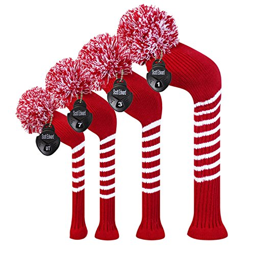 Scott Edward Crimson Red Classic Stripes Golf Club Head Covers, Acrylic Yarn Double-Layers Knitted, Set of 4