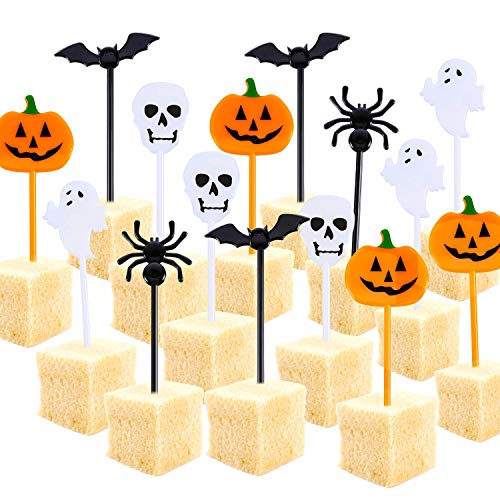 Tatuo Plastic Halloween Picks Halloween Cupcake Topper Picks Ghost Decor for Kids Birthday Party Themed Party (100)]()