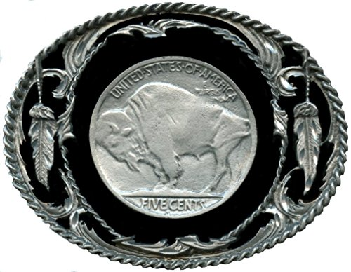 "Buffalo Nickel Design Belt Buckle 3-1/8"" x 2-1/2"" - Made In USA (Belt Coin Cut Buckle)"