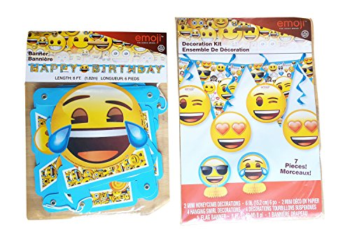 Emoji Birthday Banner 7 Piece Decorating Kit