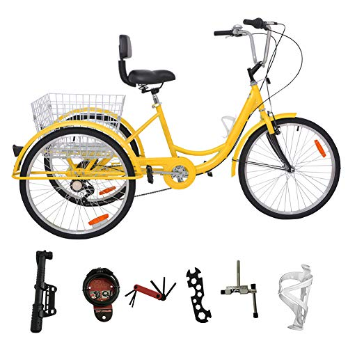 H&ZT Adult Tricycle Trike 7 Speed 3 Wheel Bike with Large Basket and Maintenance Tools, 24 Inch Wheel Size Bike Trike, Men's Women's Cruiser Bike (Yellow, 7 Speed)