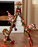 Holiday Lighted Decorative Elf Ladder With 4 Elves