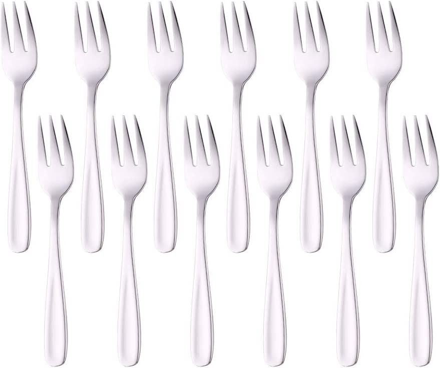 3-Tine Mini Small Forks Set 5.3-Inch Appetizer Fruit Forks Buy&Use Stainless Steel 12 PCS Silverware Mirror Polish