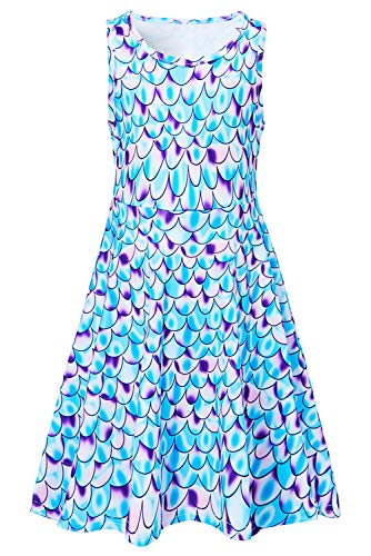 Uideazone Girls Galaxy Mermaid Maxi Sleeveless Dress for Casual/Party Summer