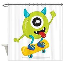 Shower Curtain One Eyed Monster on Skateboard