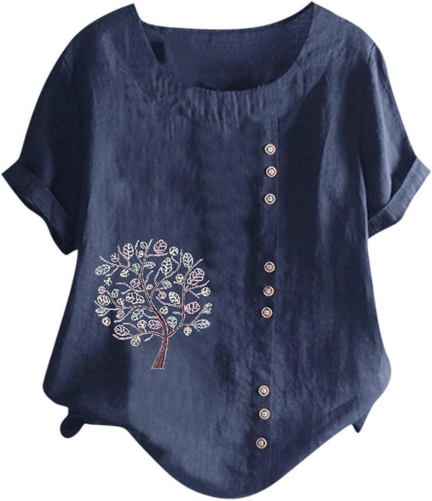 CEFGR Haut d/écontract/é pour Femme Tunique Manche Courte Coton et Lin T Shirts Les Loisirs Chemisiers Linge de Maison Tops Col Rond Tops