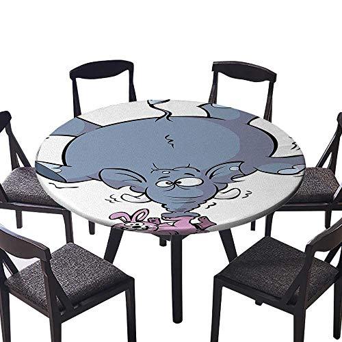 Picnic Circle Table Cloths Rabbit Balancing Big Elephant Funny Mascot Animals Cartoon Creatures Circus Grey Pin for Family Dinners or Gatherings 43.5