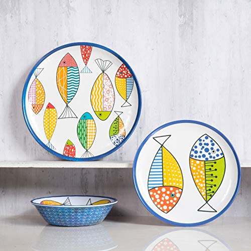 Melamine Dinnerware set for 4, Plates and Bowls Sets, Great for Camper, RV, Indoors Outdoors Use with Ocean Printed, Unbreakable