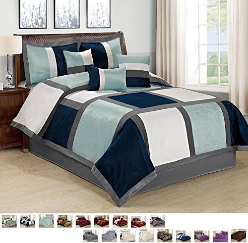HUAJIE 7 Piece Embroidered Big Square Patchwork Pattern Comforter Set Bed in a Bag with Bed Skirt and Decorative Pillows Shams (King, Blue Brandy)