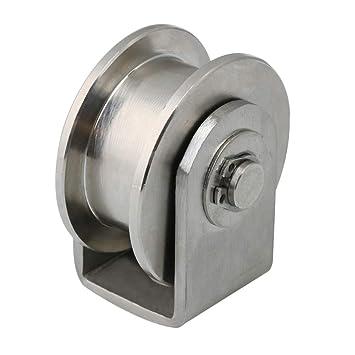 BQLZR Rueda de polea fija de acero inoxidable 304, 48 mm de diámetro, con forma de H, para puerta corredera: Amazon.es: Bricolaje y herramientas