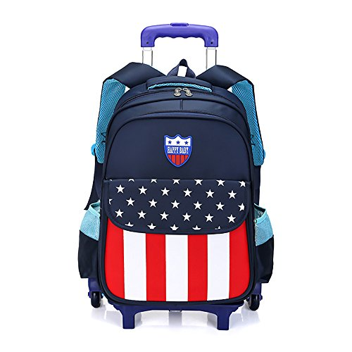 Rolling Backpack Kids School Bags Trolley Luggage 18 Inch Oversized Load Multi-Compartment Wheeled for Girls Boys Travel (Dark blue striped stars, 6 ()