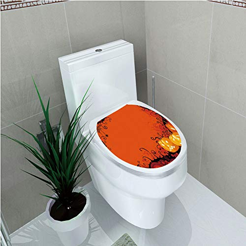 Toilet Cover Sticker 3D Printing,Spider Web,Three Halloween Pumpkins Abstract Black Web Pattern Trick or Treat Decorative,Orange Marigold Black,for You Design,W12.6