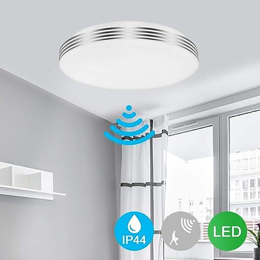 LED Luz de sensor de movimiento 18W 1200lm Sensor de Movimiento de Radar Luz de techo ...