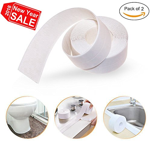 Loobani PE Bathtub Counter Caulk Strip Seal For Bath Tub Kitchen, Shower Toilet Wall Sealant, Flexible Peel and Stick Caulking Tape, 1-1/2
