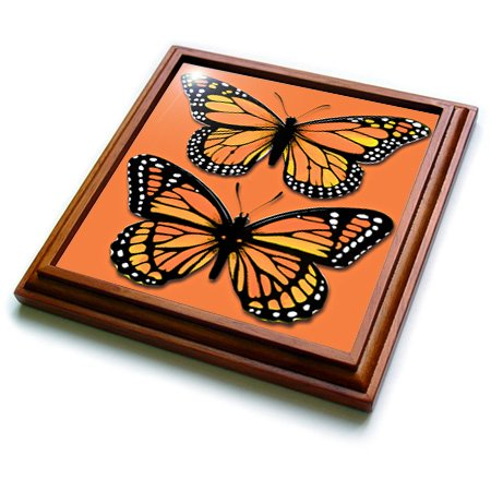 3dRose trv_170878_1 Two Colorful Monarch Butterflies on a Matching Orange Background Trivet with Ceramic Tile, 8 by 8