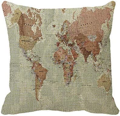 Sar54ryld - Funda de almohada decorativa para el hogar, diseño de mapa antiguo, 18 x 18, para el Día del Padre, Día de la Madre, regalo de cumpleaños