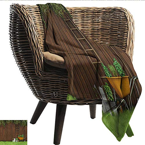 Anshesix Throw Blanket Farmland Gardening Material Tools on The Backyard with Shovel and Bucket Design Print Plush Throw Blanket W54 xL72 Sofa,Picnic,Camping,Beach,Everyday use
