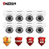 TMEZON 8 Pack 2.0MP HD-TVI 1080P Outdoor Turbo High Resolution Dome Camera 3.6mm Fixed Lens 1080P 48IR, Work With HD-TVI (1920×1080)