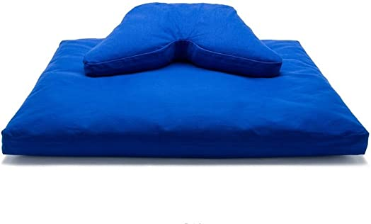 Royal Blue Buckwheat Hull Regular Lift Cosmic Cushion Cotton Batting Zabuton Meditation Cushion Set