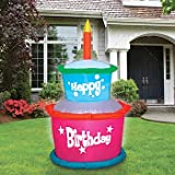 Gemmy 3' Self-Inflatable Airblown Nylon Birthday Layer Cake - Inflates In Seconds