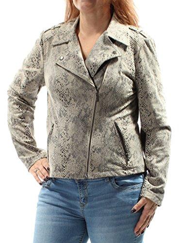 INC $160 Womens 1603 Beige Animal Print Casual Jacket L B+B - Animal Print Suede Jacket