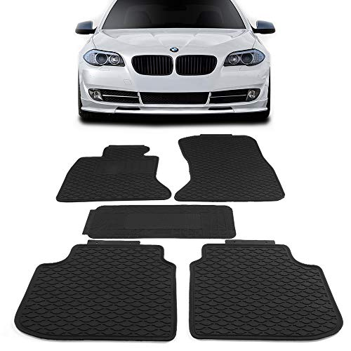 Floor Mats Fits 2011-2016 BMW F10 5 Series | Latex Rubber All Seasons Weather Interior Heavy Duty Carpets Black Full Set Front and Second Row By IKON MOTORSPORTS
