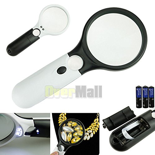SDBING 3 LED Light 45X Handheld Magnifier Reading Magnifying Glass Lens Jewelry Loupe