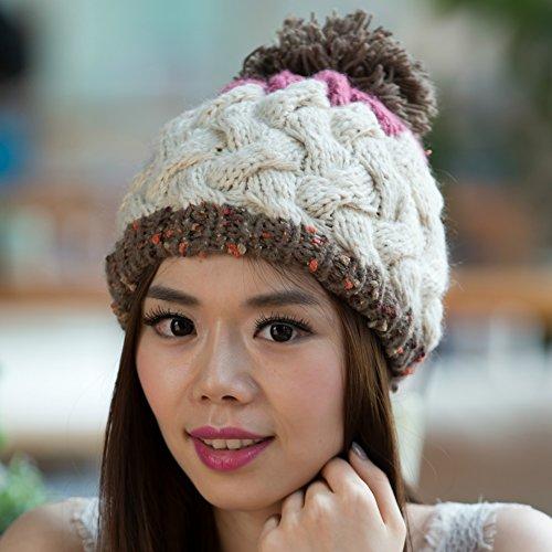 Versión Sombrero Blue Bola los de BEIGE Que Grande Invierno Colores Coreana Punto Hecho para Mezcla Maozi otoño dqFf7wd