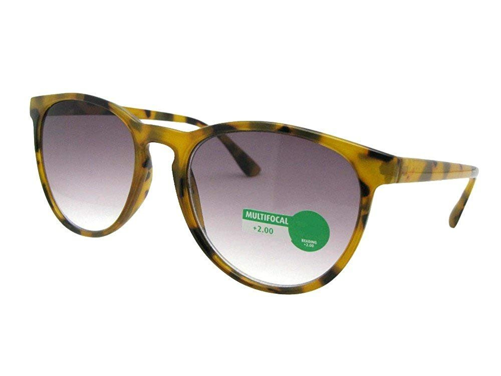 Retro Vintage Semi Round Progressive Multi Focus Lens Reading Sunglasses (Light Tortoise-Gray Lenses, 2.50)