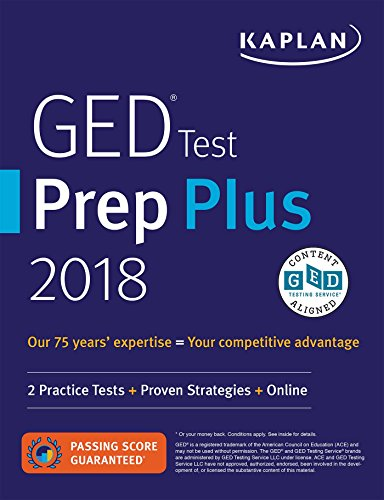 GED Test Prep Plus 2018: 2 Practice Tests + Proven Strategies + Online (Kaplan Test Prep) cover