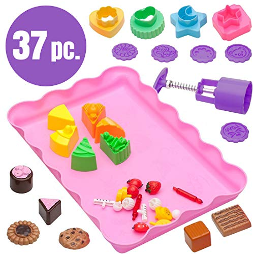 USA Toyz Play Sand Toys for Kids – 37pc Play Sand Kit Sand Molds and Sand Tray, Sensory Toys for Girls and Boys, Kids Baking Set for Making Fake Food -