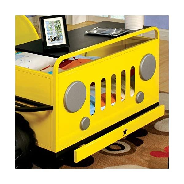 Furniture of America Jungler Metal Off-Road Vehicle Yellow Twin Bed 1