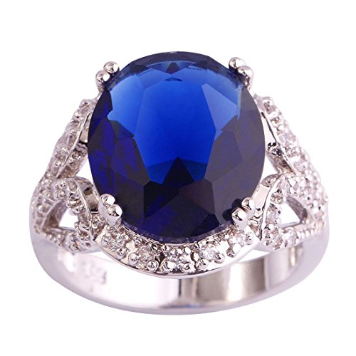 Psiroy Women's 925 Sterling Silver Sapphire Quartz Cocktail Filled Ring
