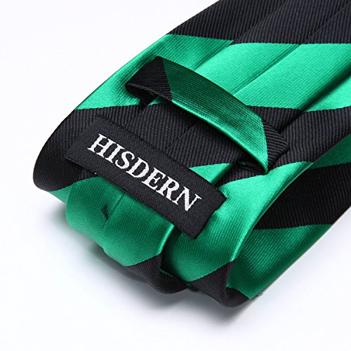 Men's Wedding Pocket Necktie HISDERN Green Striped Tie Square Set Handkerchief amp; Black 0R55Iqw