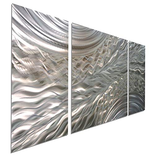 Statements2000Abstract Etched 3D Metal Wall Hanging Panel Art Painting Sculpture by Jon Allen, Silver/Gold, 50