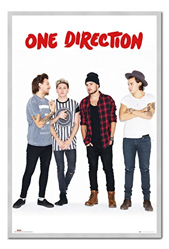 One Direction Without Zayn Portrait Poster Silver Framed & Satin Matt Laminated - 96.5 x 66 cms (Approx 38 x 26 inches)